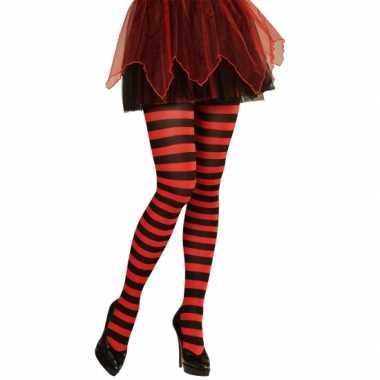 Heksen verkleedaccessoires panty zwart/rood voor dames maat xl