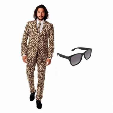 Heren kostuum met luipaard print maat 56 (3xl) met gratis zonneb