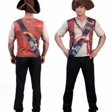 Heren t shirt met piraten opdruk 3d
