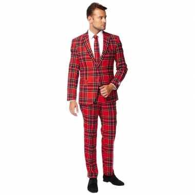 Heren verkleed pak/kostuum rode schotse print