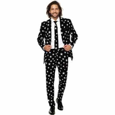 Heren verkleed pak/kostuum zwart met sterren print