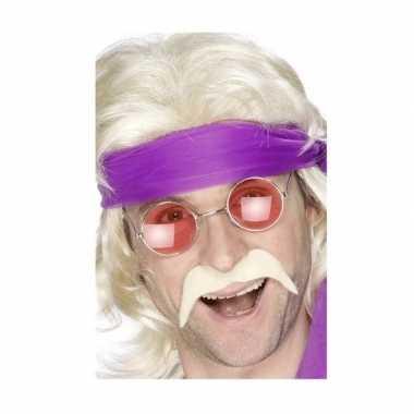 Hippie accessoires verkleedset snor met bril