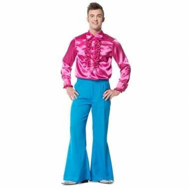 Hippie broek blauw met wijde pijpen voor heren