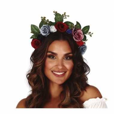 Hippie/flower power gekleurde verkleed bloemen diadeem/tiara