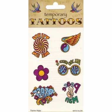 Hippie plak tattoo 6 stuks