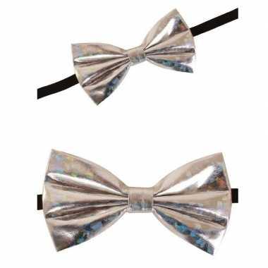 Holografisch vlinderstrikje zilver 13 cm voor dames/heren