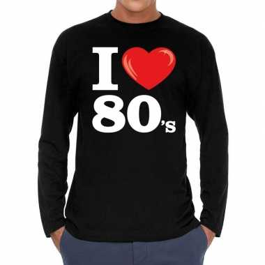 I love 80s / eighties long sleeve t shirt zwart heren