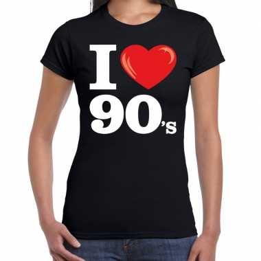 I love 90s / nineties t shirt zwart dames