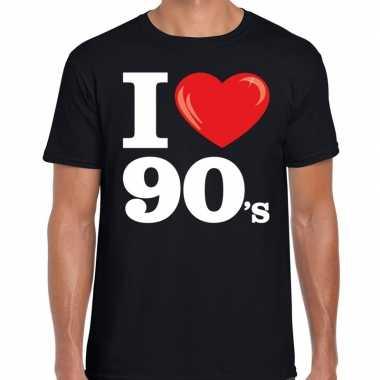 I love 90s / nineties t shirt zwart heren
