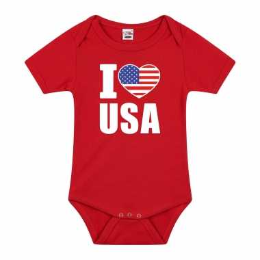 I love usa baby rompertje rood amerika jongen/meisje