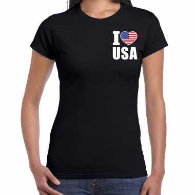 I love usa t shirt amerika zwart op borst voor dames