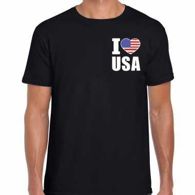 I love usa t shirt amerika zwart op borst voor heren