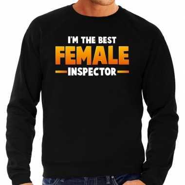 Im the best female inspector sweater zwart voor heren