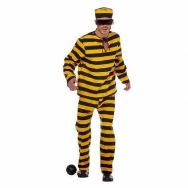 Inbreker kostuum zwart/geel voor heren