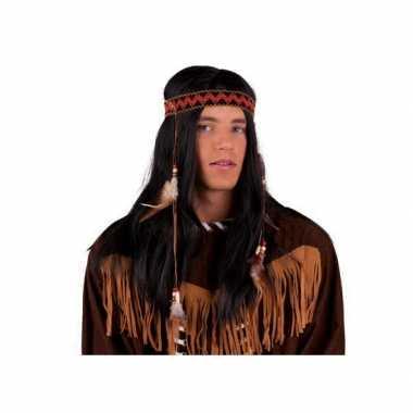 Indianen pruik met hoofdband en veren