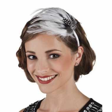Jaren 20 haarband met witte veren