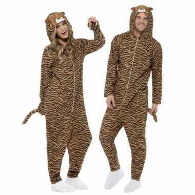Jumpsuit tijger all in one voor volwassenen