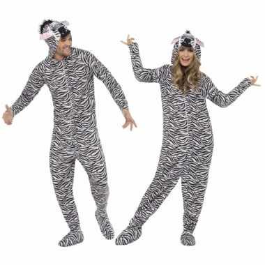 Jumpsuit zebra all in one voor volwassenen
