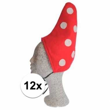 Kabouter muts rood met witte stip 12x