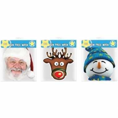 Kartonnen kerst thema maskers 3 stuks