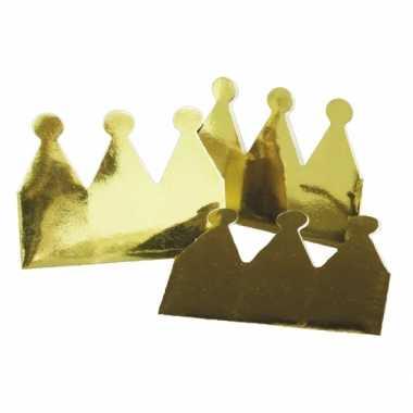 Kartonnen kroon goudkleurig 6x
