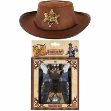 Kinder cowboy verkleed set hoed met 2x pistolen