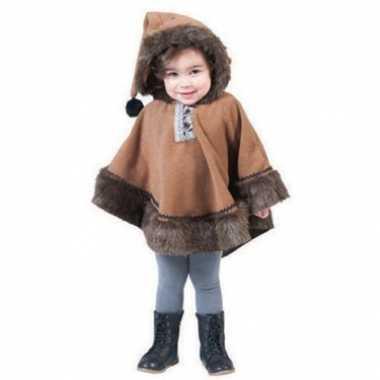 Kinder eskimo poncho met capuchon