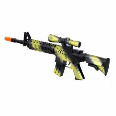 Kinder speelgoed verkleedwapen/machinegeweer soldaten/leger met geluid 39 cm