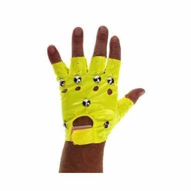 Knalgele biker handschoenen