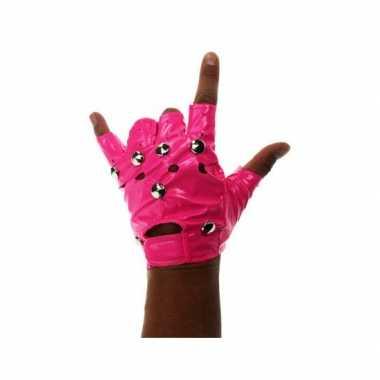 Knalroze biker handschoenen