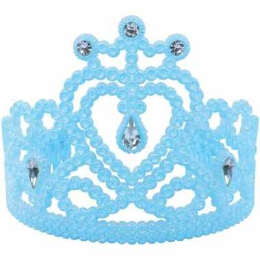 Koninginnen/prinsessen tiara blauw