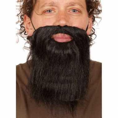 Korte carnaval verkleed zwarte baard heren