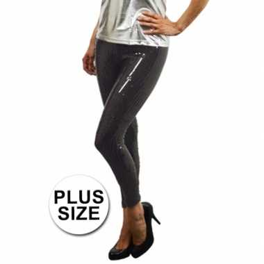 Legging met zwarte pailletten plus size