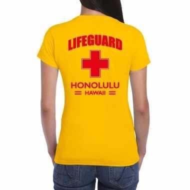 Lifeguard/ strandwacht verkleed t shirt / shirt lifeguard honolulu hawaii geel voor dames