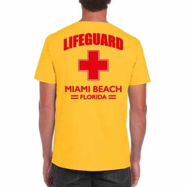Lifeguard/ strandwacht verkleed t shirt / shirt lifeguard miami beach florida geel voor heren