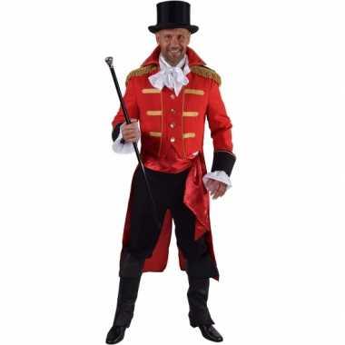 Luxe circus directeur outfit rood voor heren