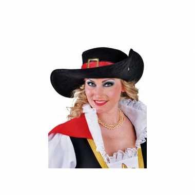 Luxe hoed met rode rand van polyester