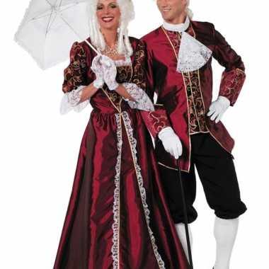 Luxe lange hofdame jurk bordeaux voor dames