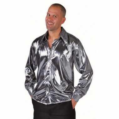 Metallic zilveren blouse voor volwassenen