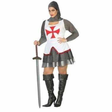 Middeleeuwse ridder verkleed kostuum/jurk wit/rood voor dames