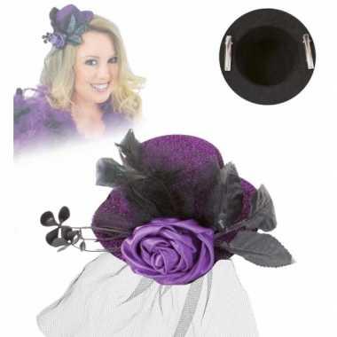 Mini hoed met roos en sluier paars
