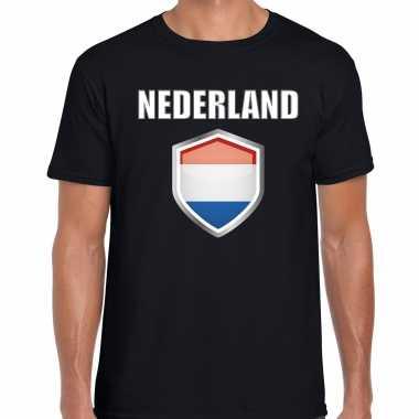 Nederland landen supporter t shirt met nederlandse vlag schild zwart heren
