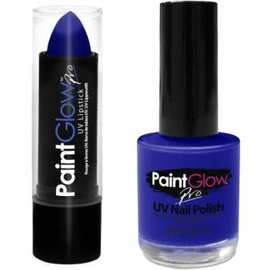 Neon blauwe uv lippenstift/lipstick en nagellak schmink set