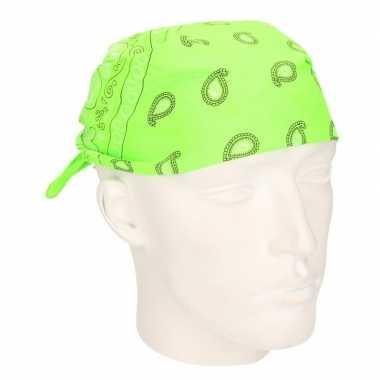 Neon groene zakdoek bandana 53 x 53 cm