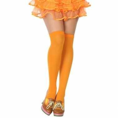 Neon oranje verkleed kousen voor dames