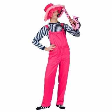 Neon roze tuinbroek voor volwassenen