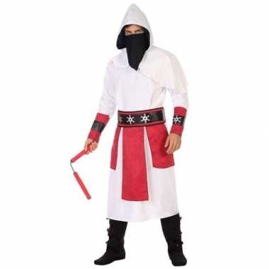 Ninja vechter verkleed kostuum wit/rood voor heren