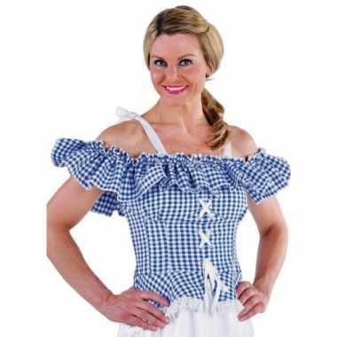 Oktoberfest tiroler blouse carmen blauw geruit