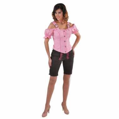 Oktoberfest tiroler blouse off shoulder roze geruit