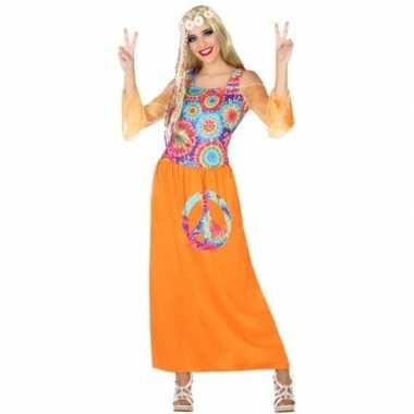 Oranje hippie/flower power verkleed jurk voor dames